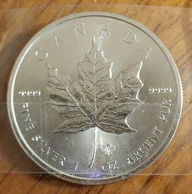 2014 Canada $5 Maple Leaf Coin Unc. 1 troy ounce fine .9999 silver Maple privy