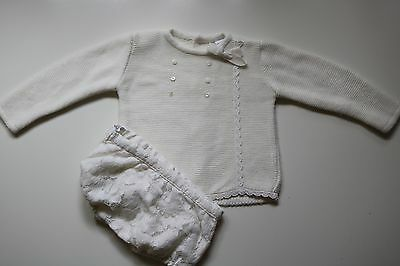 Rochy Spanish Vintage Cream Floral Embroidered Knitted Outfit Baby Girl 6 Months