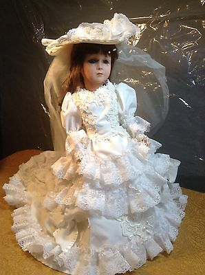 "BEAUTIFUL VINTAGE REPRODUCTION B. D. 1 BYRON BISQUE DOLL 17 1/2"" Tall Hand Made"