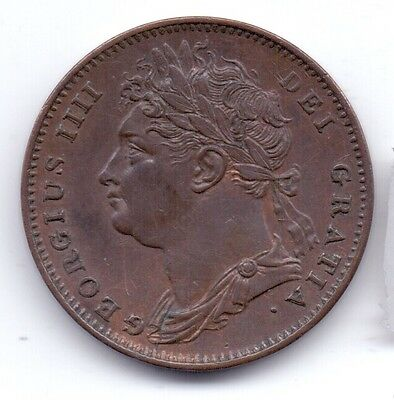 1822 GEORGE IV MILLED FARTHING EF some Lustre