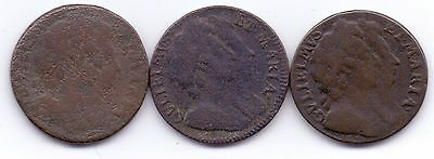3x 1694 COINS- WILLIAM III & MARY II FARTHING, EARLY MILLED