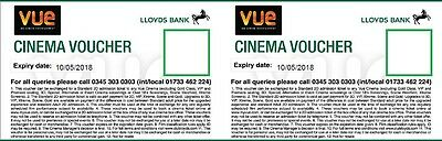 2 (Two) Vue Cinema Tickets / Vouchers (May 2018 Expiry)