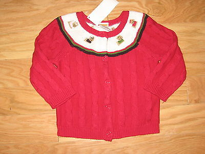 NWT Gymboree Pups & Kisses Yoke Sweater Cardigan Pink Yorkie Dog 18 24 M