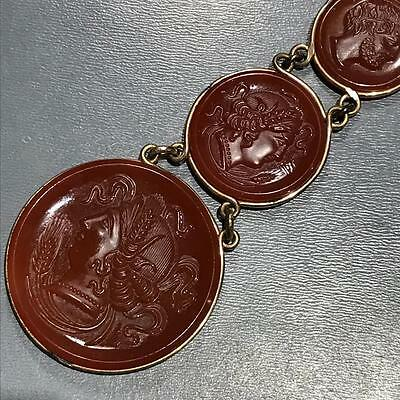 Old Victorian Gold Fill Carnelian Glass Cameo Intaglio Watch Fob Charm Pendant