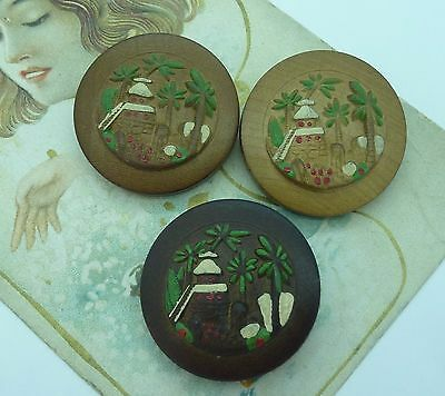 Set Of 3 Vintage Carved Wooden Buttons~Tiki~Hand Painted Palm Tree Design