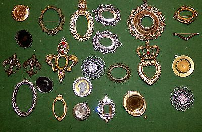 Lot 316 Vintage Cameo Cabochon Pendant Pin Frame Bezel Necklace Jewelry Making