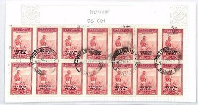 SA1224 1949 ARGENTINA Official Stamps Used Block of 14 25c SG.O61