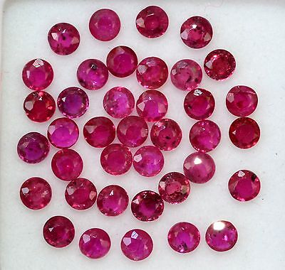 Natural Ruby Round Cut 2.50 mm 1.72 CTS Lot 22 Pcs Red Pink Shade Loose Gemstone