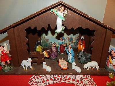 Vintage Made in Japan Nativity Scene with  Wooden Creche