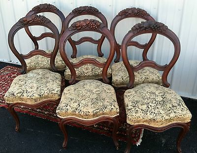 Six Antique Set of Baloon Parlor/ Dining Chairs Hand Carved