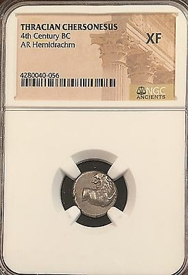 Chersonesos 400-350BC Wreath & Dot Ancient Greek Silver Hemidrachm NGC XF