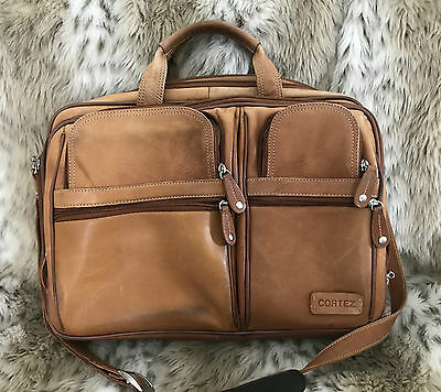 Vintage Cortez Briefcase Retro Satchel Messenger Bag Distressed Leather