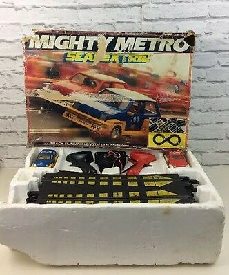 Vintage Mighty Metro Scalextric Boxed Racing Track With Cars.