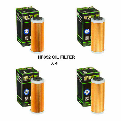 Ktm 250 Excf / Six Days Fits 2013 To 2018 Hiflofiltro Oil Filter  Hf652  4 Pack