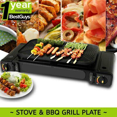 Portable Double Gas Burner Stove Butane Cooker with Non-Stick Grill BBQ Plate