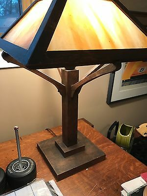 Mission Oak Lamp With Glass Shad