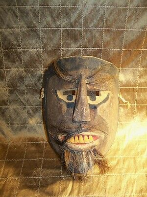 Guatemalan Hand Carved Wooden Dance Mask with hair and teeth