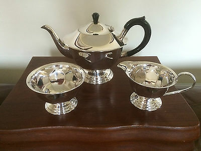 Lovely  3 Piece Silver Plated Footed Tea Service Has Had Little Use  (Ref 1200)