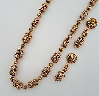 Indian jewellery traditional vintage style long heavy ball mala / necklace set