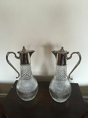 "Pair Of Silver Plated & Cut Glass Bulbous Claret Jugs 11.5"" Tall (Cj 000)"
