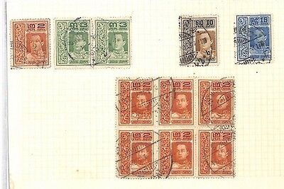 SA1237 THAILAND SIAM Overprints Original Album page from old-time collection