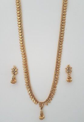Indian jewellery traditional vintage style long flat necklace / haar set