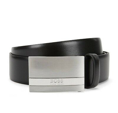 Men's Hugo Boss Leather Belt with Brushed Silver Plaque Buckle 'Baxton' Black