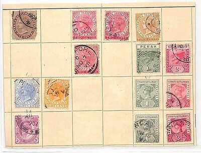 SA1243 MALAYA STRAITS SETTLEMENTS Original Album page from old-time collection