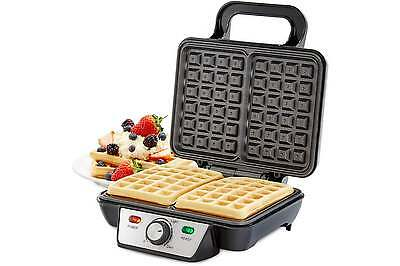 Andrew James 2 Slice Belgian Waffle Maker Iron Machine In Stainless Steel 1000W