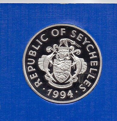 1994 Republic Of Seychelles 25 Rupees 'silver Proof' Anniversary Coin