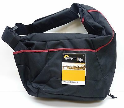 """NEW"" Lowepro Passport Sling II Camera Shoulder Bag - Black/Red ""FREE SHIPPING"""