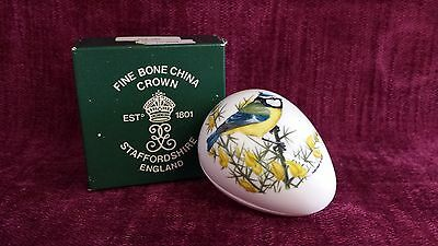 Crown Staffordshire Egg shaped Trinket Box with Blue Tits pattern
