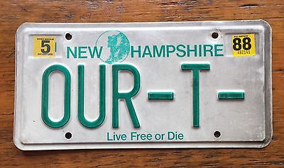 1988 NEW HAMPSHIRE VANITY License Plate 88 NH OUR-T- Model T Ford Natural