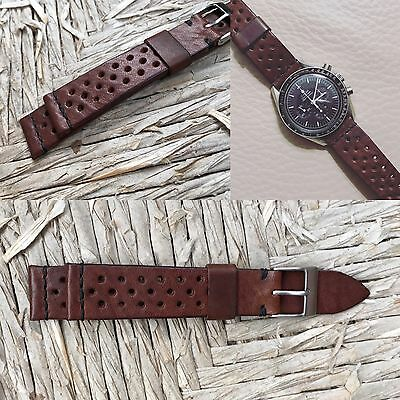 20 mm rough Brown Leather Rally Strap bracelet Band cinturino for vintage watch