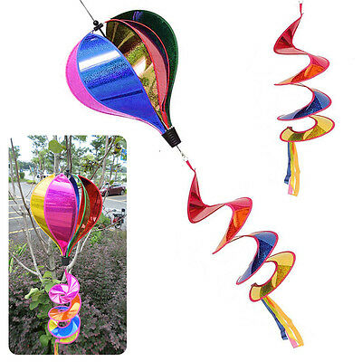 Rainbow Striped Sequins Windsock Hot Air Balloon Wind Spinner Yard Outdoor Decor
