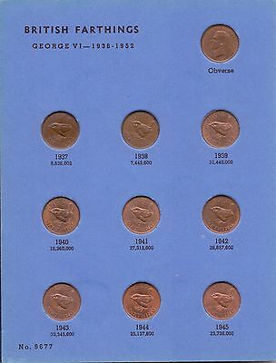 GREAT BRITAIN FARTHINGS COLLECTION SET 1937-1956 (complete & high grade)