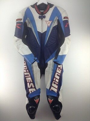 Mens dainese blue-white-red one piece motorbike leather suit size 52