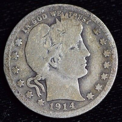 1914-D Barber Quarter Very Good Condition 90% Silver