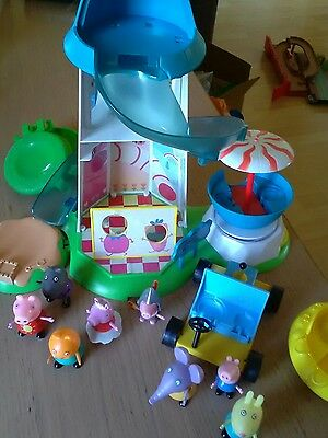 peppa pig bundle helter skelter  go cart 8x figures