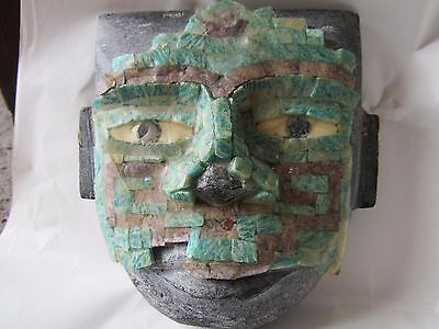Antique Peruvian South American Death Face Mask Carved Stone Obsidian Turquoise