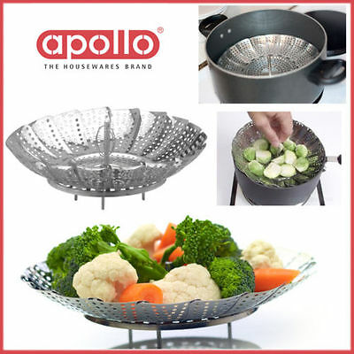 23CM Folding Veg Steamer APOLLO Stainless Steel Stand Easy Cook Food Kitchen NEW