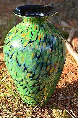 "David Lindsay Studio Art Glass Vase Signed 2005 9 1/2"" Tall Peacock Green"