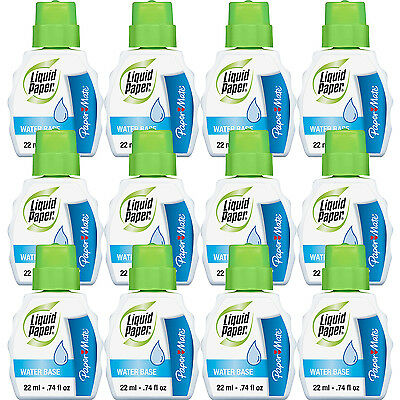 Paper Mate Liquid Paper Low Odor Water-Based Correction Fluid, White, Pack of 12
