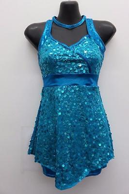 Dance Costume Medium Adult Blue Sequin Top/Shorts Jazz Tap Solo Competition