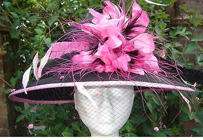 Black Ladies Hat for Royal Ascot, Ladies Days,Weddings,Mother of the Bride