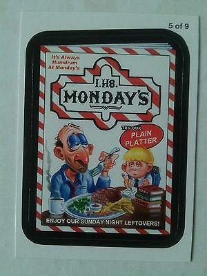 Wacky Packages ANS 11 Rude Food Menu Card 5 of 9 I.H8. Monday's Topps - 2013