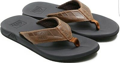 NEW WITH TAGS! REEF Men's Phantoms Brown/Tan leather Sandals Flip Flops Size 12
