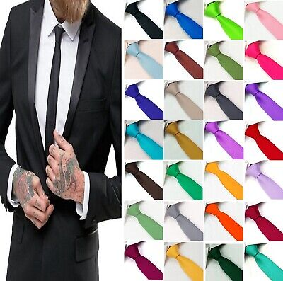 GIFTS FOR MEN Skinny Retro 5cm Mens Plain Solid Shiny Satin Party Wedding Tie