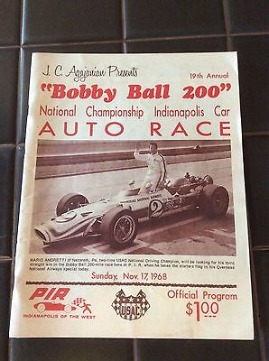 The Bobby Ball 200 National Championship Program Nov 1968 Indy Car