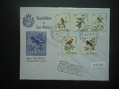 San Marino 1972 Birds Finches (5v Set) (Unaddressed) First Day Cover